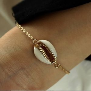 Gold Painted Seashell Beach Chain Bracelet